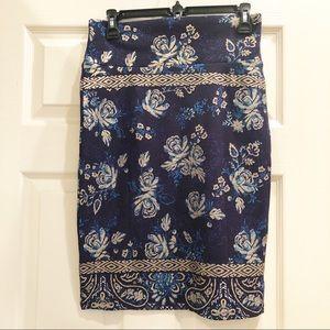 LuLaRoe Navy/Metallic Gold Roses Cassie Skirt - S
